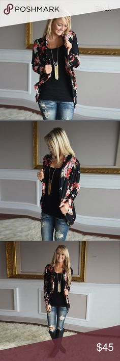 Floral Black Cardigan Flattering and oh so stylish cardigan perfect for spring/summer! ✨ Sweaters Cardigans