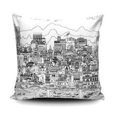 Add a modern city feel to your sofa with this bold black and white Manchester design. The cushion embraces Manchurian life, combining famous buildings with much loved faces and the humours of life in the North West! South Manchester, Urban Village, Monochrome Interior, Famous Buildings, White Cushions, Modern City, Watercolor Texture, North West
