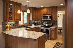 Baths Interior, Kitchen Interior, New Kitchen, Kitchen Design, Kitchen Ideas, Kitchen Reno, Natural Wood Kitchen Cabinets, Manufactured Home Remodel, Home Remodeling