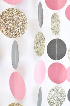 Pink Grey Gold 10 ft Paper Garland by DesignElementsByErin on Etsy
