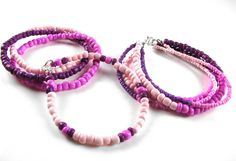 Fuchsia bracelets from the Seed Bead Bundle Five Hanks! Shop now at C+C: http://www.createandcraft.tv/pp/spoilt-rotten-beads-six-feature-strands-343206?referrer=search&fh_location=//CreateAndCraft/en_GB/$s=343206 #jewellery #handmade jewellery