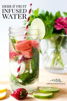 Easy and refreshing fruit infused water recipe. Make drinking water fun, nutritious and colorful! Make this infused water in mason jars and always have it on hand. Natural Detox Water, Natural Herbs, Infused Water Recipes, Fruit Infused Water, Detox Drinks, Healthy Drinks, Healthy Water, Detox Juices, Healthy Eating