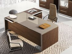Executive desk with drawers EOS Home Office Furniture Design, Office Table Design, Office Interior Design, Office Interiors, Modern Office Table, Contemporary Office Desk, Executive Office Desk, Luxury Office, Desk With Drawers