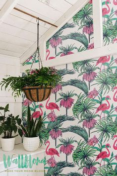 Tropical Pattern Wallpaper - Exotic Removable Wallpaper- Palm leaves Wallpaper- Flamingo Wall Sticker -Tropical Palm Self Adhesive Wallpaper