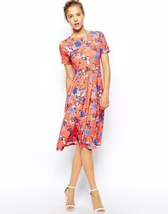 Image 1 of ASOS Midi Skater Dress in Bird and Floral Print