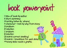 Book report using powerpoint