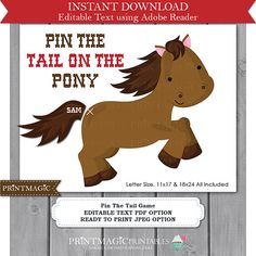 Pin the Tail On the Pony Printable Party Game  by printmagic