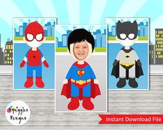 Super Hero Photo Booth Props (includes Batman, Superman, Spiderman) - Digital Files