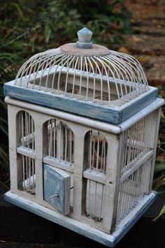 Hand Painted Weathered Birdcage by TheVelvetBranch on Etsy