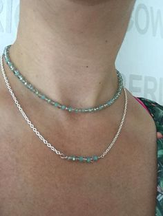 Double Necklace made of silver coated chain and crystal jade in green and grey. For more styles and jewelry look us in facebook: B4U, designed by Roxana E. Balmes.