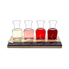 Cathy's Concepts Personalized Bamboo & Slate Wine Tasting Flight-C,... ($33) ❤ liked on Polyvore featuring home, kitchen & dining, bar tools, brown clear, mini carafe, wine carafe and mini wine carafe
