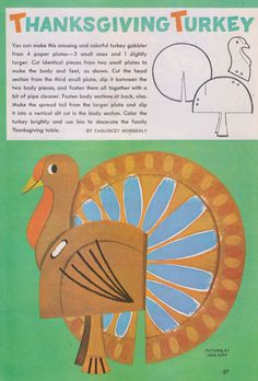 vintage thanksgiving paper turkey