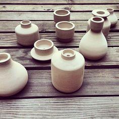 Candle holder concept shapes.  (at Heath Ceramics)
