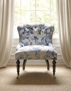 Middleton Chair in Shrewsbury Blue & White #Thibaut