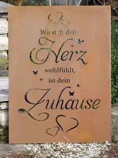 Edelrost Gedichttafel Herz - Zuhause The chalkboard is lavishly designed, with many .