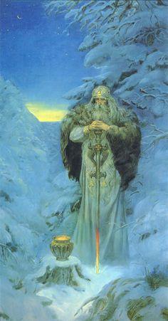 """Svarog - Deus do fogo e da ferraria. Os fieis, para atraírem a benevolência dessa divindade atiravam para o céu grãos a fim de assegurarem boas colheitas. Seu nome está ligado etimologicamente à palavra polonesa swarzýc, que significa """"disputar"""", """"ficar colérico"""". Em outras fontes é considerado o deus do céu e o criador do mundo, dos demais deuses e dos homens."""