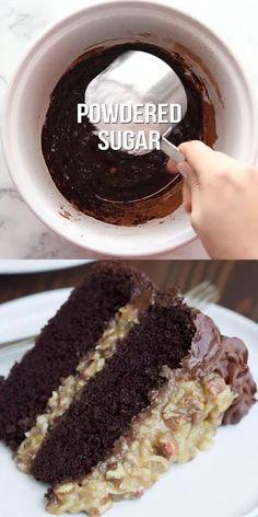 Delicious Cake Recipes, Homemade Cake Recipes, Yummy Cakes, Sweet Recipes, Baking Recipes, Yummy Food, Homemade Chocolate Frosting, German Chocolate Cake Frosting, Homemade German Chocolate Cake