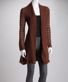Take a look at this Brown Sheer-Knit Drape Neck Open Cardigan by High Secret on #zulily today!