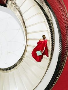 Photographer: © Clive Arrowsmith Title: Fortnum And Mason Staircase Lady in Red Image Fashion, Fashion Models, Photo Grid, Take The Stairs, Fortnum And Mason, Fashion Advertising, Glamour, Shades Of Red, 50 Shades