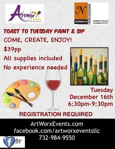 Join ArtWorx Events to Paint & Sip THIS Tuesday @ Nonna's! RESERVE YOUR EASEL NOW:  http://evpo.st/1sk0QsU
