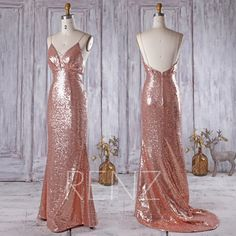 2016 Rose Gold Sequin Bridesmaid Dress with A Small Train,V Neck Wedding Dress,Backless Prom Dress,Spaghetti Straps Floor Length(HQ293)
