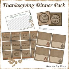 Free Printable Thanksgiving Dinner Pack