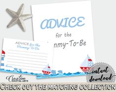 Advice Cards Baby Shower Advice Cards Nautical Baby Shower Advice Cards Baby Shower Nautical Advice Cards Blue Red party décor DHTQT #babyshowergames #babyshower