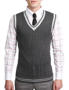 Mens Casual V-Neck Sweater Vest Casual Sweaters, Sweater Vests, Legally Blonde, Sharp Dressed Man, Every Girl, Men Looks, Gq, Men Dress, Style Me