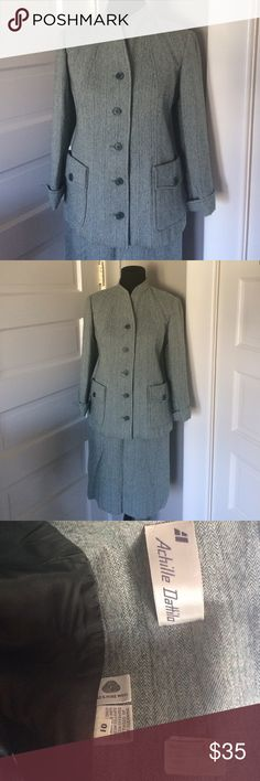 """Vintage Achille Dattilo Green tweed skirt suit Amazing vintage condition. The only imperfection is that the tags on the blazer were torn off at one point. Not noticeable at all when wearing. Skirt measures 13"""" across waist. Blazer measures 18"""" across bust and 17"""" across the waist. Vintage gem! Vintage Jackets & Coats Blazers"""
