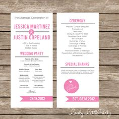 Simple Ultra Modern Wedding Program- DIY Printable - Lovely Little Party - You Choose Color