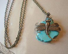 Dragonfly Necklace Turquoise Stone Pendant by RhondasTreasures