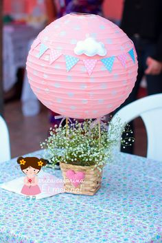 Baby's breath in a hot air balloon centerpiece Baby Shower Centerpieces, Balloon Centerpieces, Balloon Decorations, Walmart Baby Shower Decorations, Shower Party, Baby Shower Parties, Baby Shower Themes, Baby Shower Balloons, Birthday Balloons