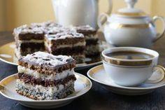 Prajitura in dungi- Striped Cake Romanian Desserts, Romanian Food, Striped Cake, Brownie Cake, Something Sweet, Cake Cookies, Yummy Cakes, Sweet Recipes, Cookie Recipes