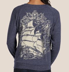 Tall ship, Pirate ship, Women's Navy Sweatshirt Alternative Apparel Slouchy Pullover. $34.00, via Etsy.