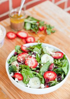Healthy and Delicious Strawberry Summer Salad with fresh mint and feta