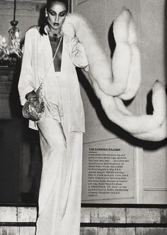 Jerry Hall showing us how to wear 70's summer furs to dress up the evening pajama