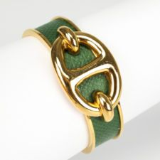 HERMES Gold Tone Green Leather Chaine D'Ancre Cuff Bracelet ...