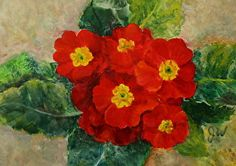 """Red Primroses by Julia Watson Oil ~ 5 x 7"""", $200 framed in aged gold"""