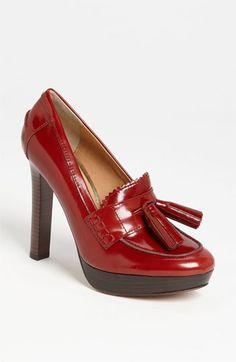 stacked heel/platform loafer pump