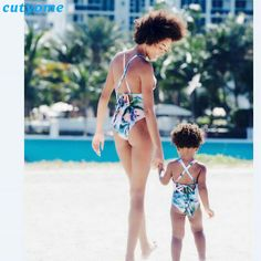 Cutyome Mother Daughter Swimsuit Clothes Family Look Matching One-Pieces Swimwear Outfits Mommy And Me Kids Beach Bathing Suit