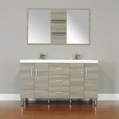 Wade Logan Truby 56 Double Modern Bathroom Vanity Set with Mirror Modern Sink Vanity, Vanity Set With Mirror, Modern Bathroom, Single Sink Bathroom Vanity, Vanity Sink, Bath Vanities, Hang Towels In Bathroom, Bathroom Storage, Complete Bathrooms
