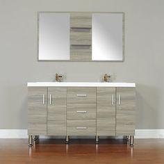 Wade Logan Truby 56 Double Modern Bathroom Vanity Set with Mirror Modern Sink, Modern Vanity, Vanity Set With Mirror, Bathroom Countertops, Hang Towels In Bathroom, Modern Bathroom, Double Vanity Bathroom, Trendy Bathroom, Modern Bathroom Vanity