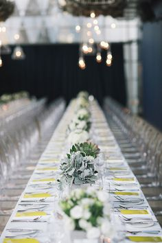 Long tables and low centerpieces.