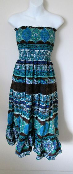 She's Cool Sundress Size XL Strapless Blue Green Brown Multi Print Mid Calf