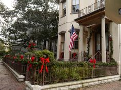 Whitaker Huntingdon Inn, decorated for Christmas holidays in #Savannah Georgia USA | Located on Whitaker Street, this Romantic Inns of Savannah member's B&B overlooks Forsyth Park.