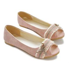 2013 New Arrival Lace Suede and Peep Toe Design Flat Shoes For Women