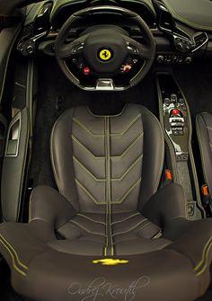 Outstanding Cockpit view of a Ferrari 458 Italia Spider Interior @Pat Joseph
