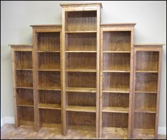 Rustic wood retail bookcase shelf display