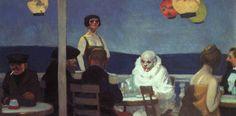 Reproduction de Hopper, Soir Bleu. Tableau peint à la main dans nos ateliers. Peinture à l'huile sur toile.