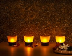 Run a bath with safe LED candles after a long day